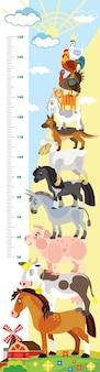 Mètre de hauteur de vecteur d'animaux de ferme