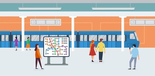 Métro métro minuscule personnes télévision illustration