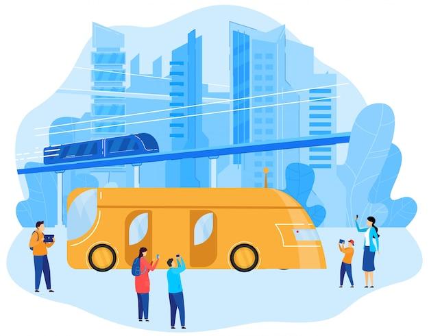 Métro de transport urbain moderne et électrobus, paysage urbain, énergie renouvelable, écosystème dans l'illustration de dessin animé de ville intelligente.