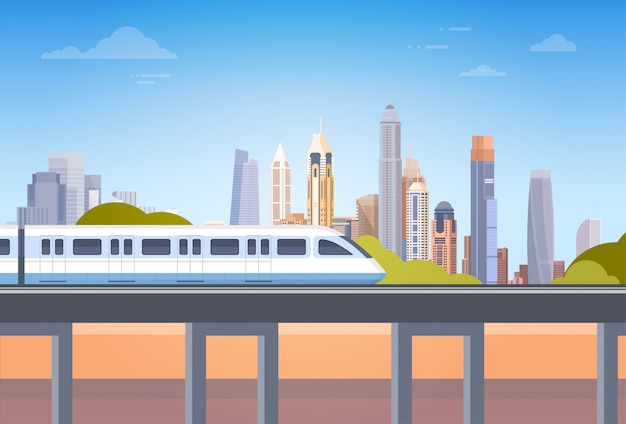Métro, sur, ville, gratte-ciel, vue, paysage urbain, fond, horizon, à, espace copie