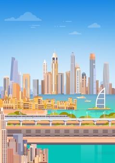 Métro, ville, gratte-ciel, vue, paysage urbain, fond, horizon
