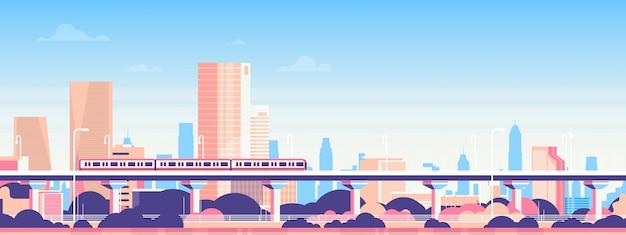 Métro sur la ville gratte-ciel vue paysage urbain fond skyline bannière plat