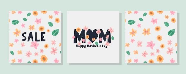 Mettez des cartes pour la fête des mères heureuse. motif de fleurs de calligraphie et de lettrage