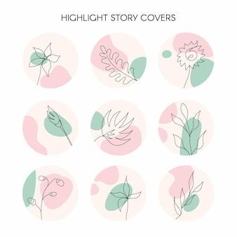 Mettez en surbrillance les icônes de couverture d'histoire pour les médias sociaux vecteur floral naturel dessiné à la main avec un fond rond