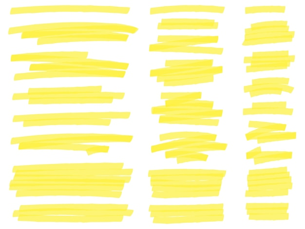 Mettez en surbrillance les lignes de marqueur. traits de marqueurs surligneur de texte jaune, marquage des surlignages