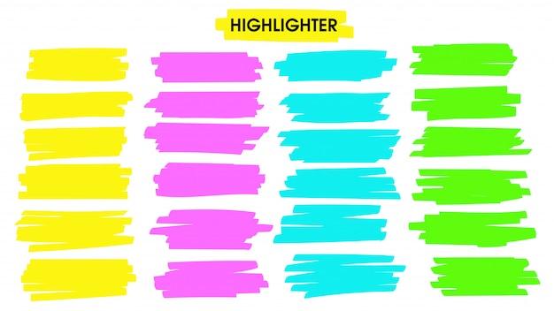 Mettez en surbrillance les lignes de pinceau. ligne de trait de stylo surligneur jaune dessiné à la main pour le mot souligné.