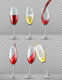 Mettre des verres à vin avec des éclaboussures de vin rouge et blanc, des toasts