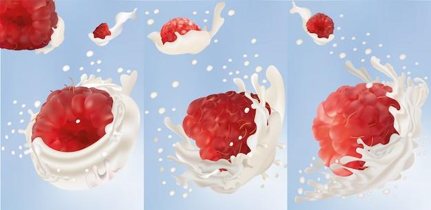 Mettre des éclaboussures de lait avec de la framboise. framboise réaliste 3d. splash de lait ou de yaourt. cocktail de fruits.