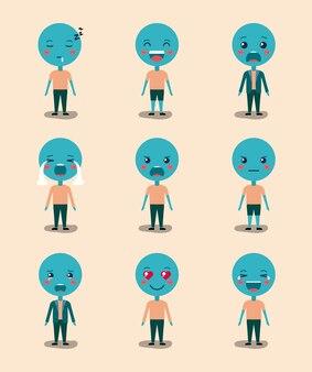 Mettre des émoticônes bleues caractères kawaii