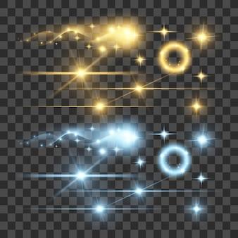 Mettre en évidence les lumières d'illumination de fluorescence de fluorescence de lumière de lumière de feu d'artifice sur fond transparent