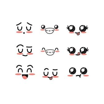 Mettre kawaii mignons tendres faces avec expression