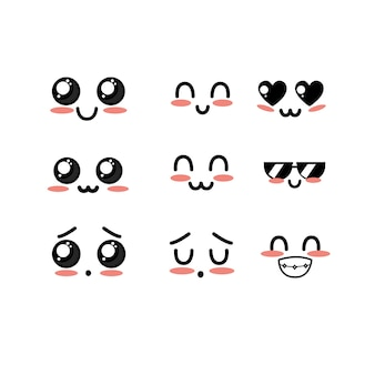 Mettre kawaii mignons tendres faces avec expression