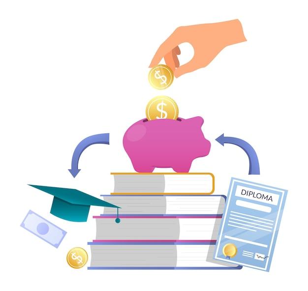 Mettre la pièce de monnaie dans la tirelire, livres, diplôme, chapeau de graduation, illustration vectorielle. prêt étudiant. économies d'argent.