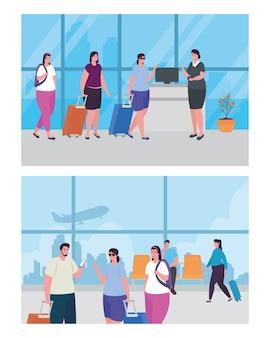 Mettre en scène des personnes et une hôtesse de l'air dans le terminal de l'aéroport