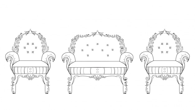 Meubles de fauteuil avec des ornements luxueux. vector french luxury structure complexe riche. décor de style victorien royal