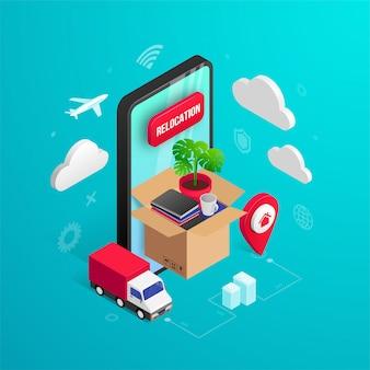 Meubles de maison, objets personnels dans une boîte sur l'écran du téléphone, van, broche isométrique sur bleu