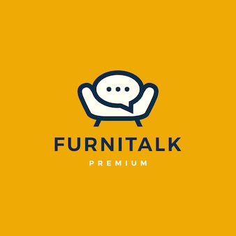 Meubles parler chat bulle canapé chaise logo icône vector illustration