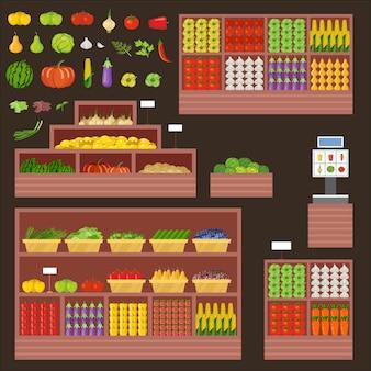 Meubles pour magasin de fruits et légumes. comptoir, vitrine