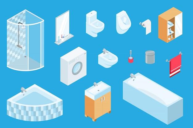 Meubles de salle de bain, constructeur isométrique de génie sanitaire, design 3d intérieur de salle de bain, éléments de meubles isolés sur bleu.