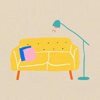 Meubles de vecteur de canapé jaune dessinés à la main dans un style graphique plat coloré