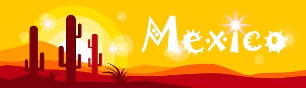 Mexicain, coucher soleil, cactus, dans, désert, bannière