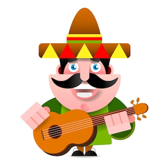 Mexicain à sombrero et illustration vectorielle de guitare