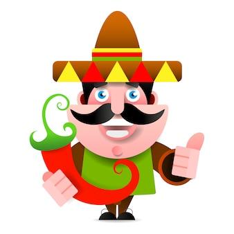 Mexicain en sombrero et poncho montrant le signe okey