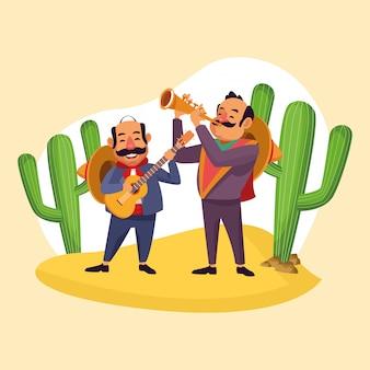 Mexicains célébrant dans le désert