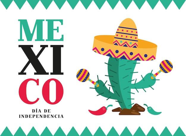 Mexique dia de la indépendencia cactus avec chapeau et maracas design, thème de la culture illustration vectorielle