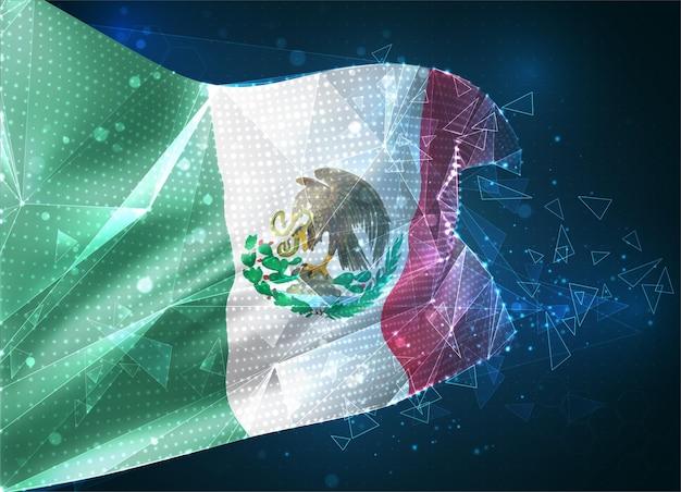 Mexique, drapeau vectoriel, objet 3d abstrait virtuel à partir de polygones triangulaires sur fond bleu