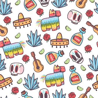Mexique éléments mignons dessin animé modèle sans couture sur fond blanc.