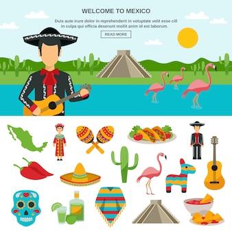 Mexique icône plate