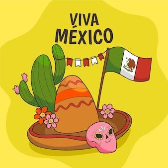 Mexique indépendance sombrero et cactus