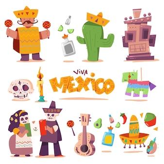 Mexique mignon éléments de dessin animé ensemble isolé
