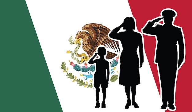 Mexique soldat famille salut fond patriote