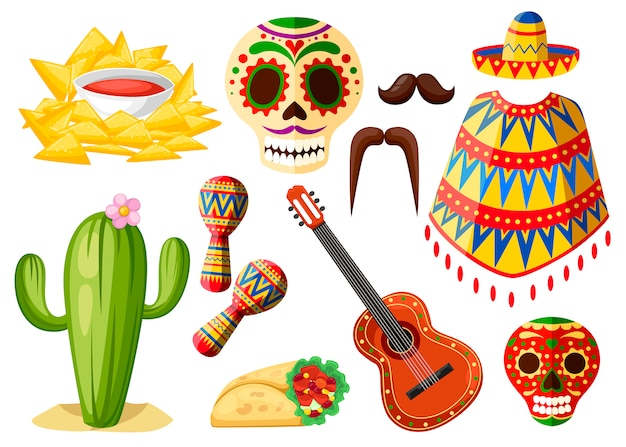 Mexique symboles colorés. jeu d'icônes mexicaines. symboles ethniques traditionnels latins. le style. illustration sur fond blanc