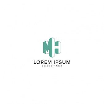Mh Logo Vecteur Premium