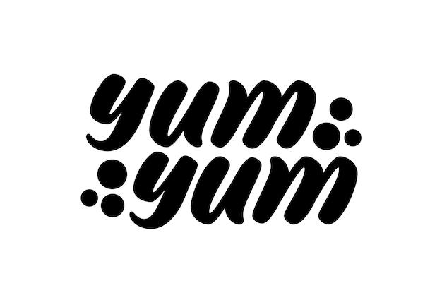 Miam miam texte. style de lettrage dessiné à la main de dessin animé. texte de griffonnage graphique pour la conception d'impression. inscription de calligraphie délicieuse.