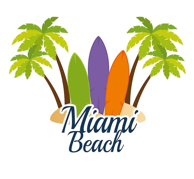 Miami beach californie scène vecteur illustration design