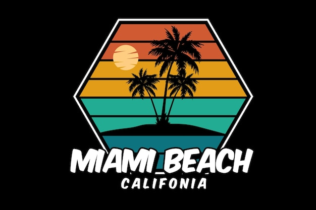 Miami beach californie silhouette design style rétro