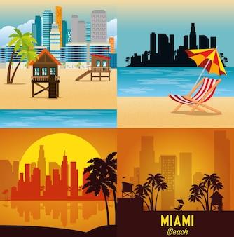 Miami beach cityscape définir des scènes vector illustration design