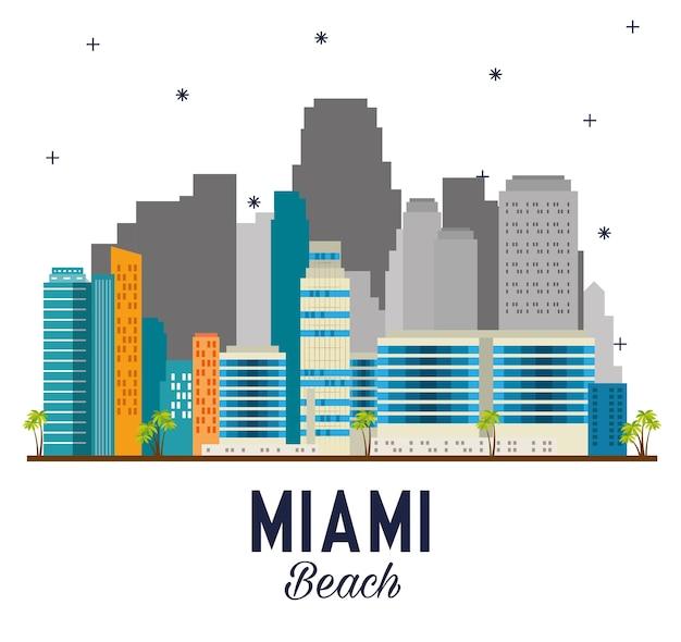 Miami beach cityscape scène vecteur illustration design