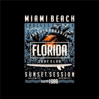 Miami beach floride silhouette abstraite typographie graphique illustration vectorielle