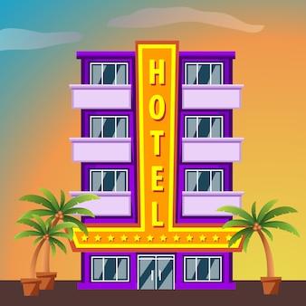 Miami beach hotel, bâtiment avec des palmiers au coucher du soleil