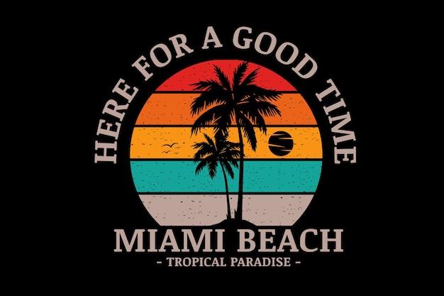 Miami beach tropical paradise couleur orange vert et crème