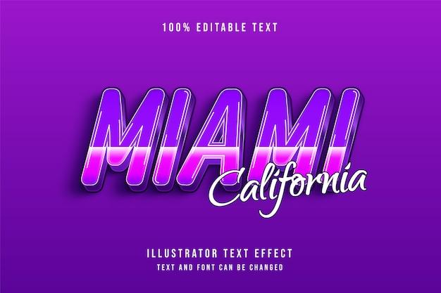 Miami en californie, effet de texte modifiable 3d effet de style des années 80 pourpre dégradé rose