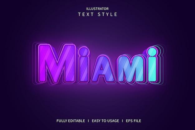 Miami, effet de police de style de texte 3d dégradé rose violet bleu
