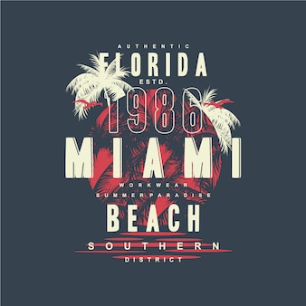 Miami florida beach illustration de conception de typographie graphique pour t-shirt imprimé