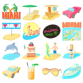 Miami itravel icons set