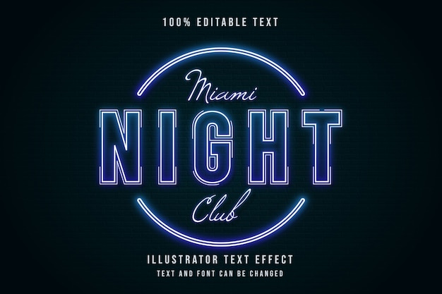 Miami night club, effet de texte modifiable 3d style de texte néon dégradé bleu